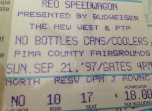 9-21-1997. $18.00. Pima County fairgrounds in Tucson, AZ - for the brief, sad stint this swamp girl tried to live in the flipping' miserable desert). But I remember this was a GREAT show! I took my son Adrian, who was 8 at the time. I clearly remember they did Son of a Poor Man, one of my faves - and they seemed like really happy guys having a grand old time doing what they loved to do, even in the midst a dusty desert midway.