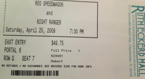 4-25-2009. $49.75. Ruth Eckerd Hall in Clearwater, FL. A great venue 'cuz there's not a bad seat in the 2100-seat house. Wow, I went 12 years without seeing REO.