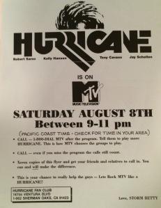 Huricane MTV flyer
