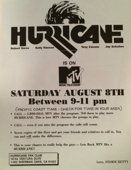 Huricane MTV flyer