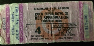 4-4-1981. $15.00. Rock Super Bowl XI (like the NFL would really allow that NOW). Orlando, FL. According to the weather beaten back side, the other bands were Billy Squire, Foghat, and Rossington Collins.