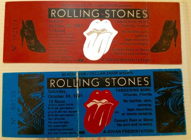 Rolling Stones stubs 10-1981