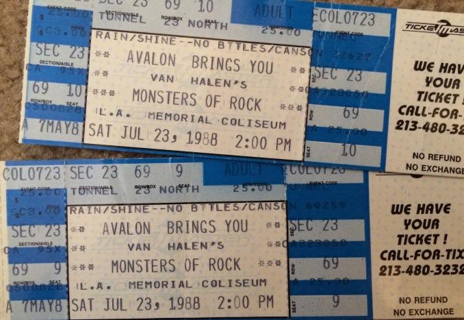 1988 Monsters of Rock Unused Ticket