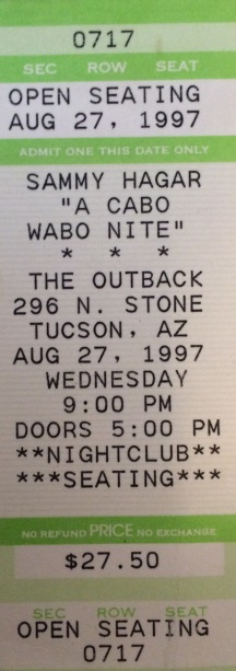 Sammy Hagar Mar2Mars Stub Tucson AZ 8-27-1997
