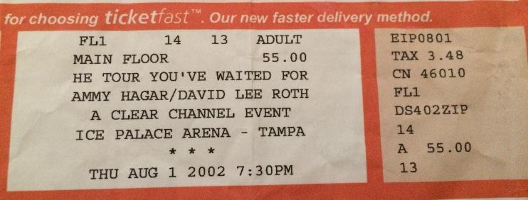 Sammy DLR Tour Stub Tampa 8-1-2002