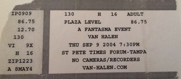 Van Hagar Reunion 9-9-2004 in Tampa, FL at the St. Pete Times Forum $86.75.