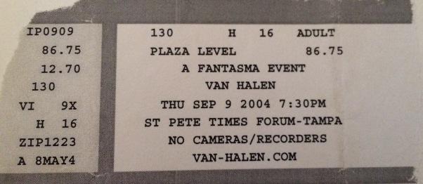 Van Hagar Reunion 9-9-2004 in Tampa, FL at the St. Pete Times Forum $86.75.
