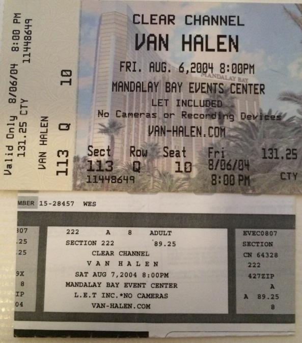 Van Hagar 2004 in Las Vegas Mandalay Stubs 8-6-2004 and 8-7-2004