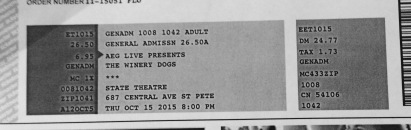 The Winery Dogs stub 10-15-2015