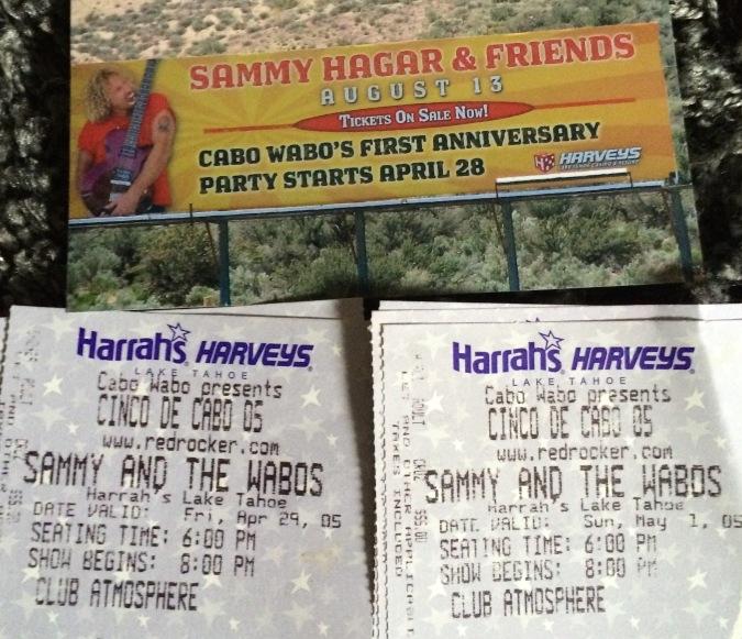 Sammy Lake Tahoe stubs 5-2005