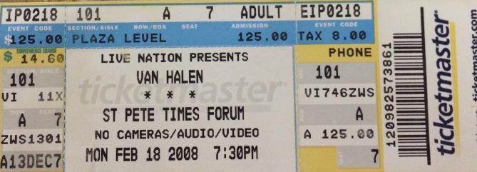 Van Halen stub 2-18-2008 Tampa