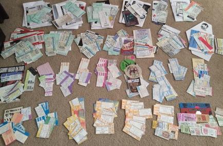Concert ticket stubs 1980-2015