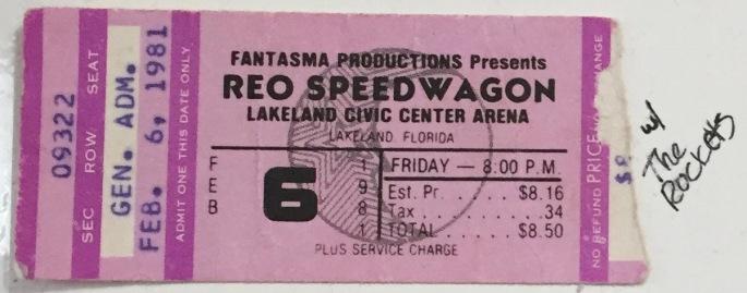 REO Speedwagon stub 2-6-1981 Lakeland Civic Center Arena
