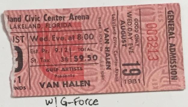 Van Halen stub 8-19-1981