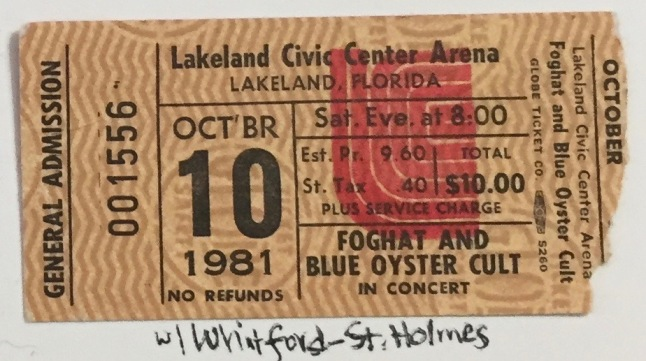 Foghat and BOC stub 10-10-1981