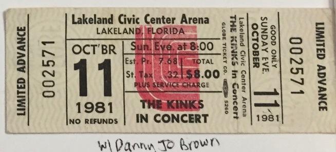 Kinks stub 10-11-1981
