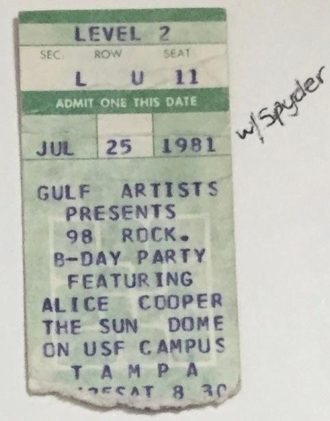 Alice Cooper stub 7-25-1981