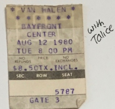 Van Halen stub 8-12-1980 Bayfront Center