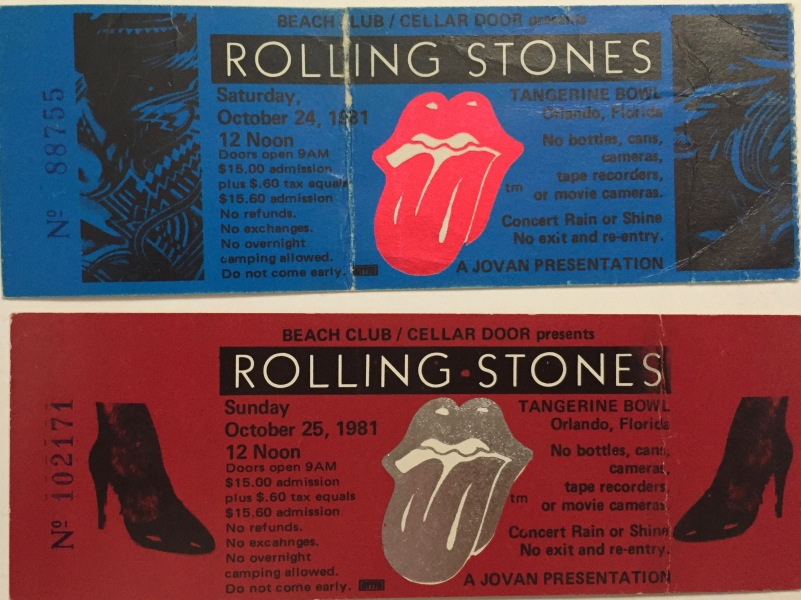 Rolling Stones stubs 10-24 and 25-1981