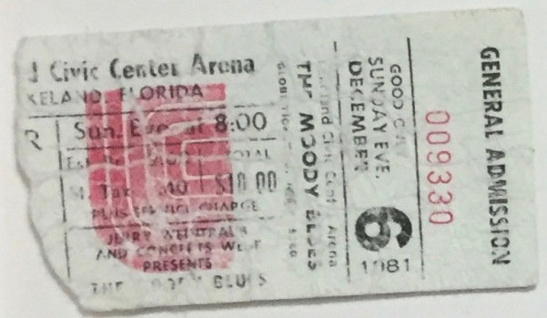 The Moody Blues stub 12-6-1981