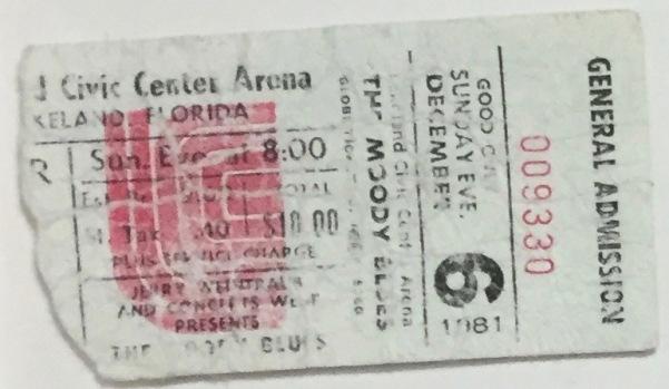 The Moody Blues stub 12-6-1981