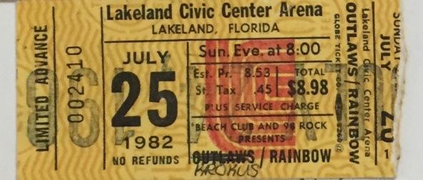 Rainbow Krokus stub 7-25-1982