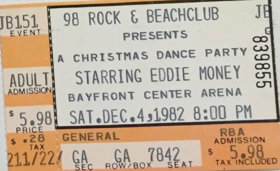 Eddie Money stub 12-4-1982