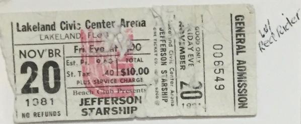 Jefferson Starship stub 11-20-81