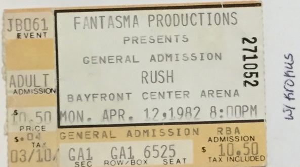 Rush stub 4-12-1982