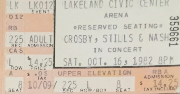 Crosby Stills Nash stub 10-16-1982