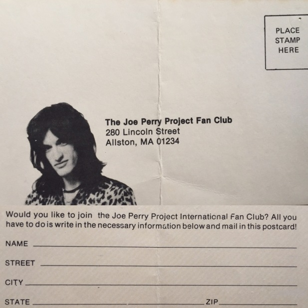 Joe Perry Project fan club flyer 1982 both sides