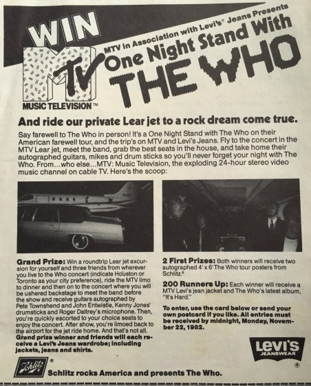 The Who MTV contest flyer 1982