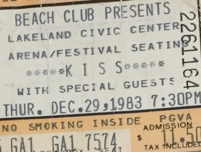 Kiss with Pat Traverse and Axe on 12-29-1983 at the Lakeland Civic Center in Lakeland, Florida. Cost $11.50.
