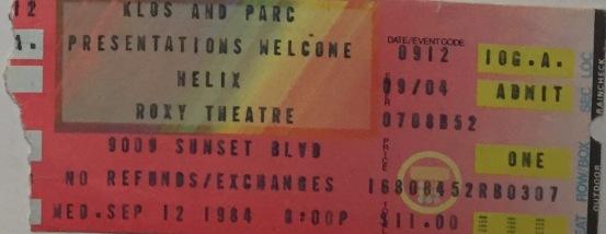 Helix at Roxy 9-12-1984