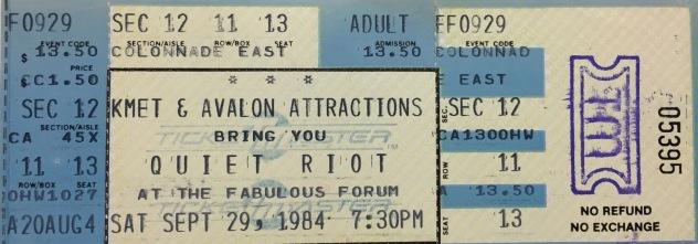 Quiet Riot Forum 9-29-1984