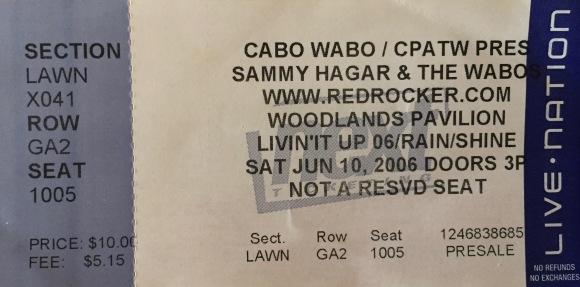 Sammy Hagar & Wabos 6-10-2006