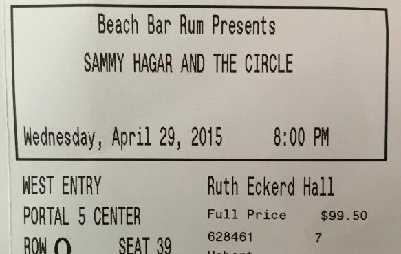 4-29-2015 Sammy Hagar & The Circle