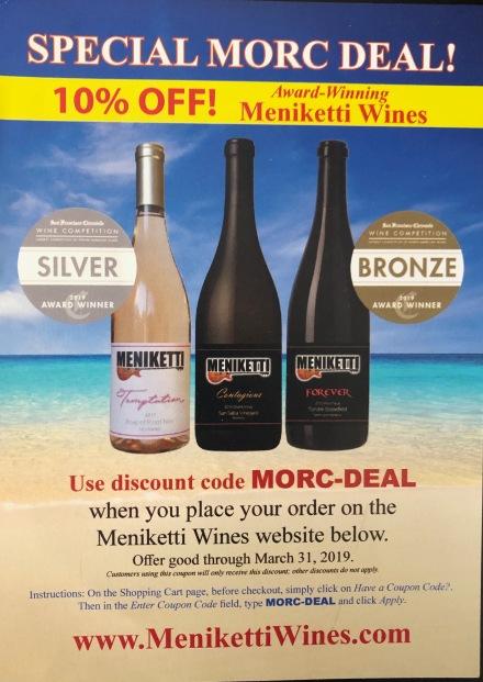 MORC 2019 Meneketti wines flyer